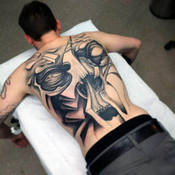 Manly Mens Cool Full Back Tattoo Design Of Skull