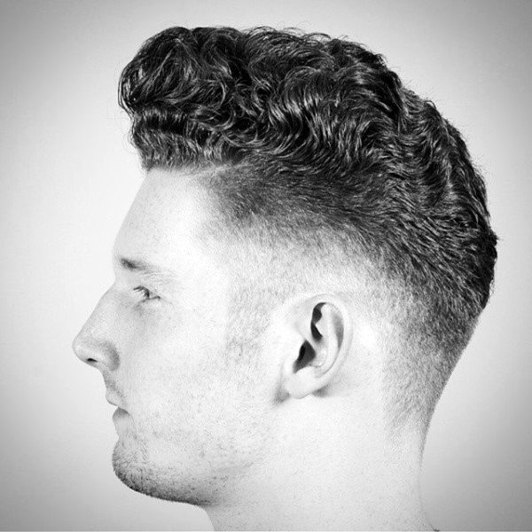 Manly Mens Curly Hair Fade Haircut Style