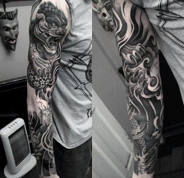 Manly Mens Foo Dog Full Sleeve Shaded Tattoo Design Ideas