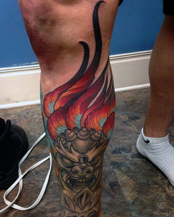 Manly Mens Foo Dog Leg Sleeve Tattoos