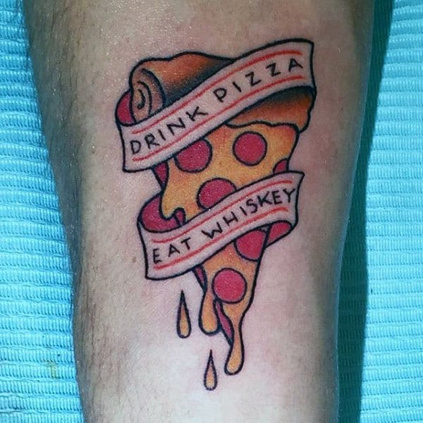 Manly Mens Forearm Gooey Pizza Food Tattoo Designs
