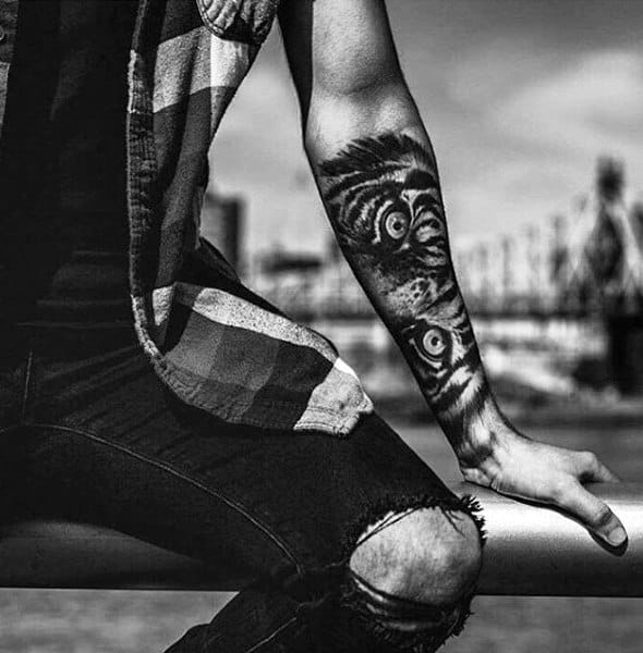Manly Mens Forearm Tattoo Sleeves Tiger Eyes