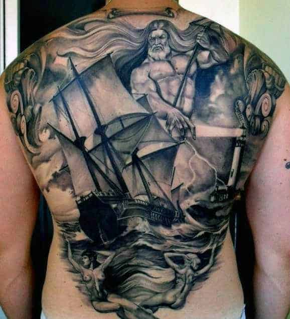 Manly Men's Greek Art Tattoos On Back