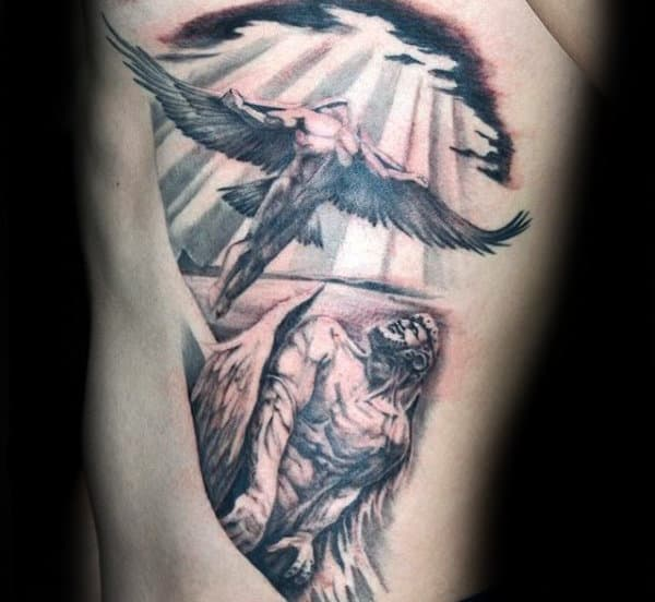 Manly Mens Icarus Rib Cage Tattoo