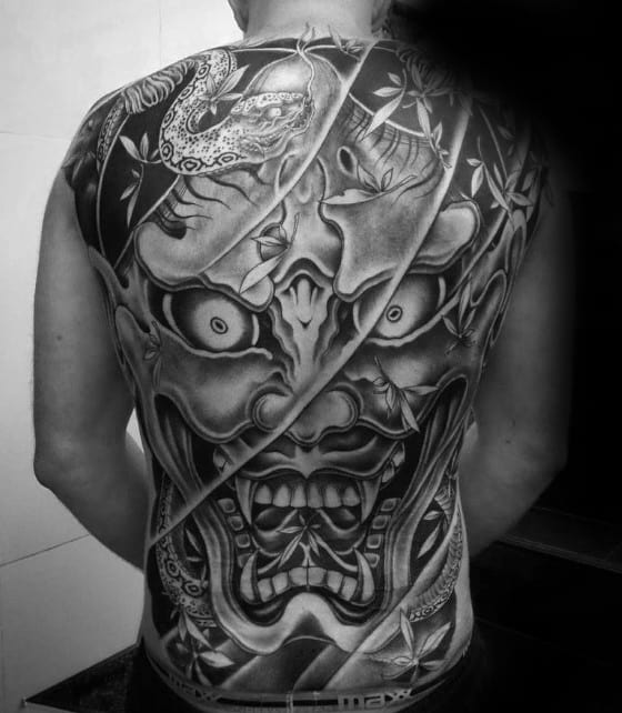 Manly Mens Japanese Demon Full Back Black And Grey Shaded Tattoo Design