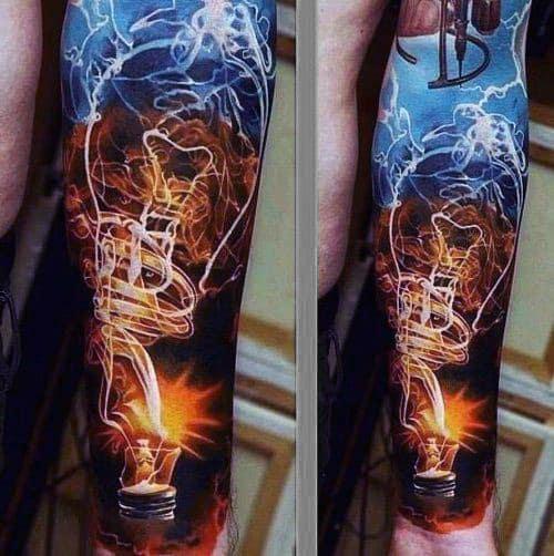Manly Men's Light Bulb Smoke Tattoos