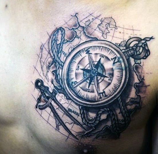 Manly Mens Map Tattoos On Chest