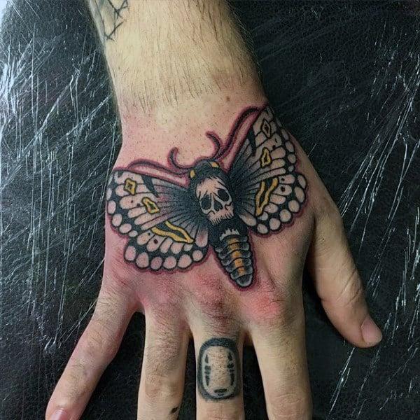Manly Mens Moth Skull Hand Tattoos