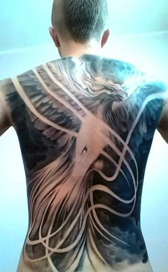 Manly Men's Phoenix Shoulder And Back Tattoo