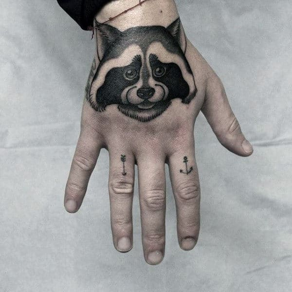 Manly Mens Raccoon Hand Tattoo