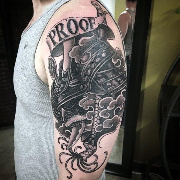 Manly Mens Samurai Helmet Arm Tattoo Designs