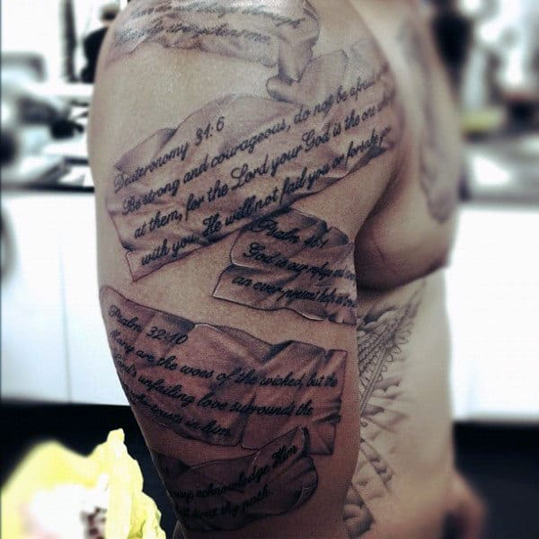Manly Mens Tattoo Bible Verse On Arm