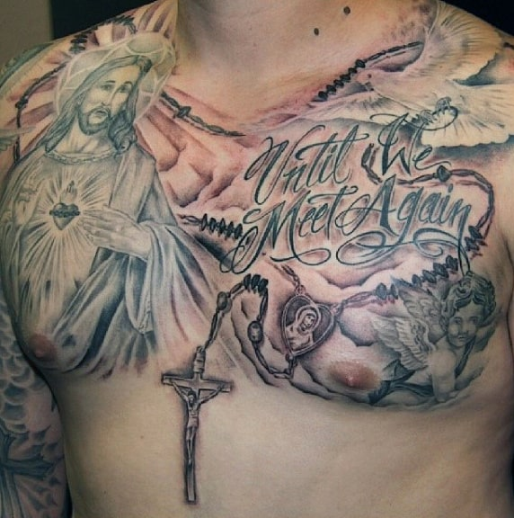 Manly Mens Tattoos Rosary On Chest With Jesus Christ