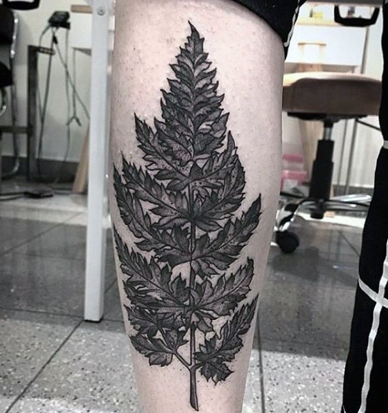 Manly Mens Tree With Leaves Tattoo