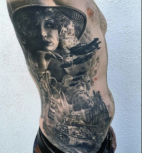 Manly Military Air Tattoo On Rib Cage Side