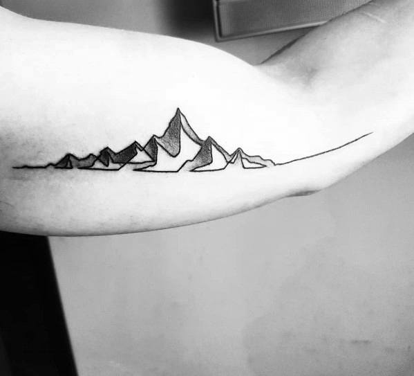 Manly Minimalist Mountain Tattoos For Males