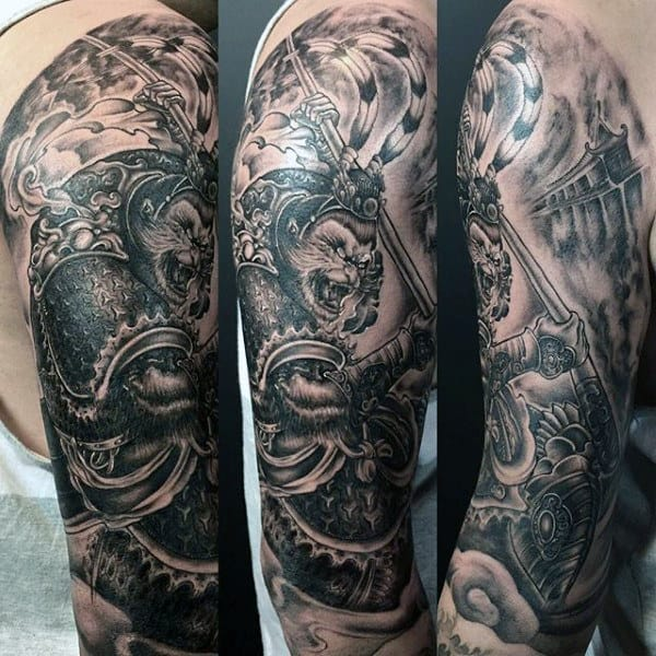 Manly Monkey King Shaded Mens Half Sleeve Tattoo