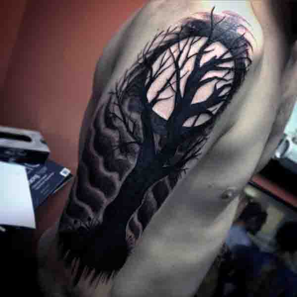 Manly Moon Tattoo Designs For Men On Arm
