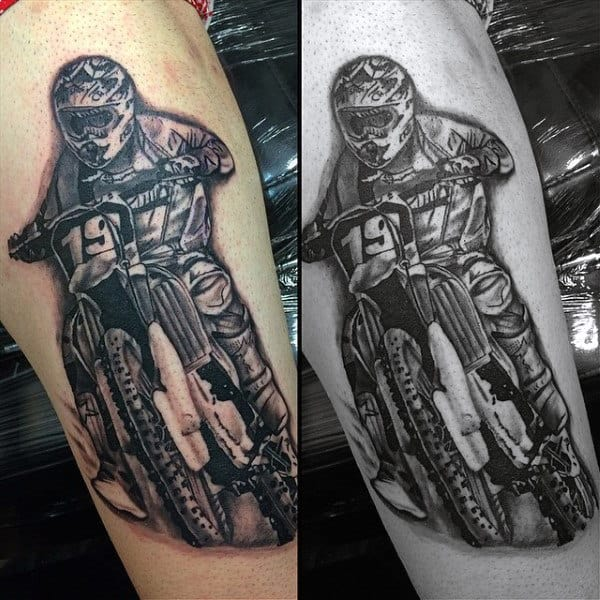 Manly Motocross Forearm Tattoos For Guys