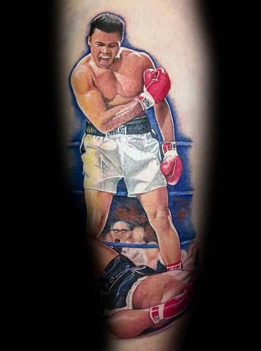 Manly Muhammad Ali Tattoo Design Ideas For Men On Leg