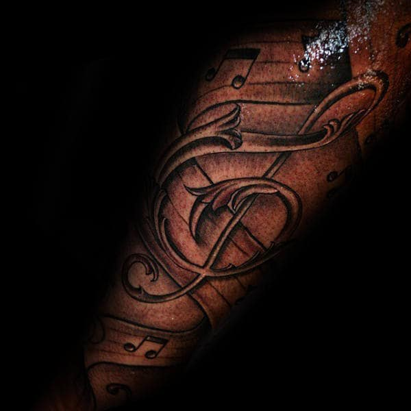 Manly Music Note Tattoos For Guys On Forearm
