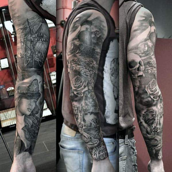 40 nautical sleeve tattoos for men seafaring ink deisgn ideas. Black Bedroom Furniture Sets. Home Design Ideas