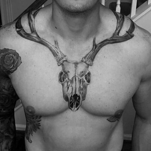 Manly Neck And Chest Animal Skull Tattoo Designs For Men