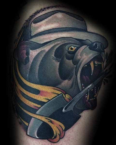 Manly Neo Traditional Bear Tattoos For Males