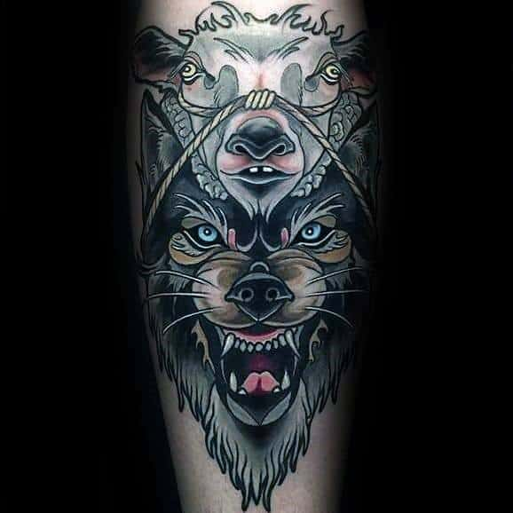 Manly Neo Traditional Wolf Tattoos For Males