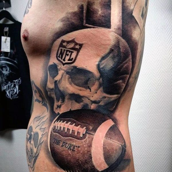 Manly Nfl Themed Male Football Full Rib Cage Side Tattoos