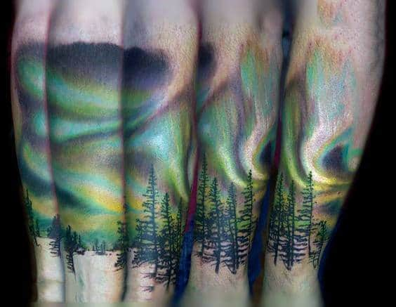 Manly Northern Lights Forearm Male Tattoos