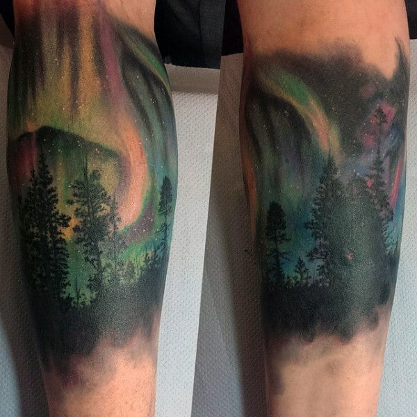 Manly Northern Lights Forearm Sleeve Tattoo Ideas