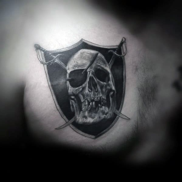 Manly Oakland Raiders Upper Chest Tattoo Designs For Guys