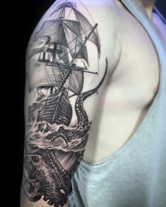 Manly Octopus Sailing Ship Guys Arm Tattoos