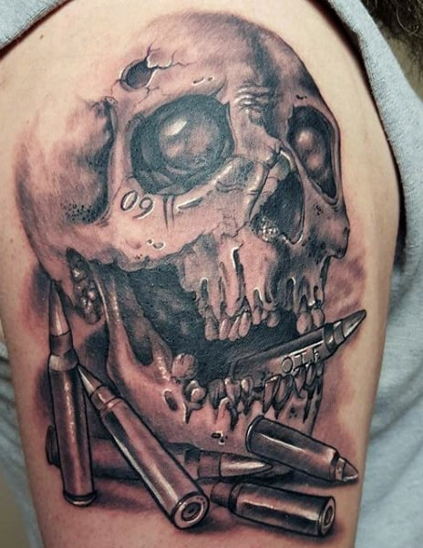 Manly Old Military Tattoos Of Skull And Bullets