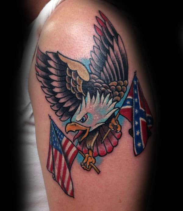 Manly Old School Bald Eage Confederate Rebel Flag Tattoo Ideas