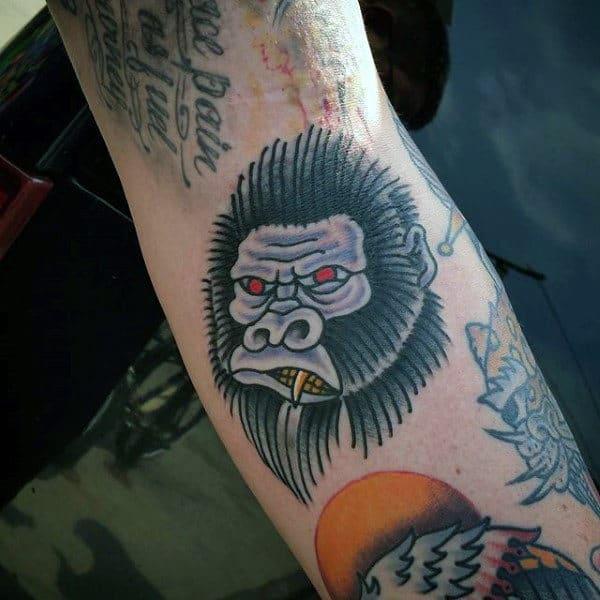 Manly Old School Gorilla Tattoo On Man