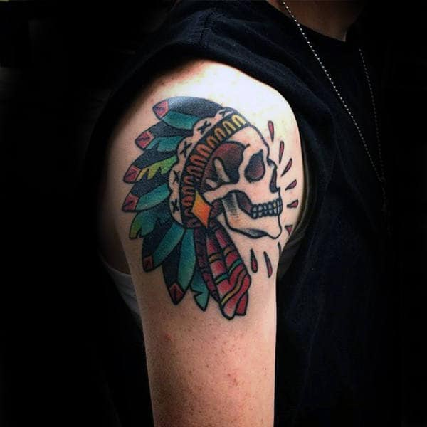Manly Old School Guys Indian Skull Upper Arm Tattoo