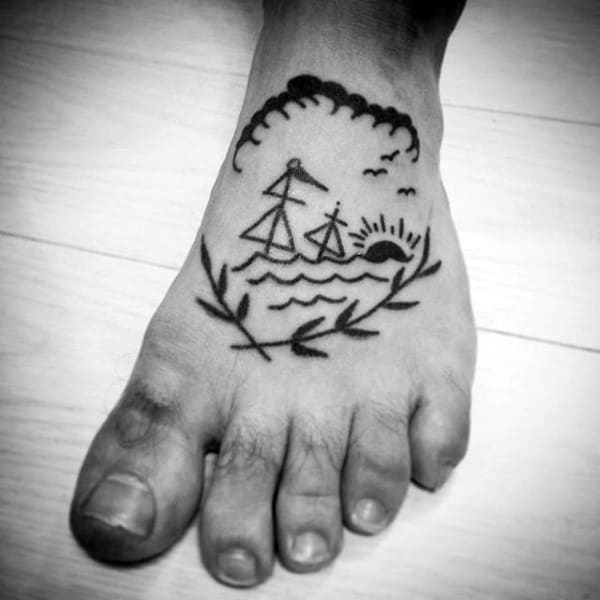 Manly Old School Pencil Drawing Tattoo On Foot For Men