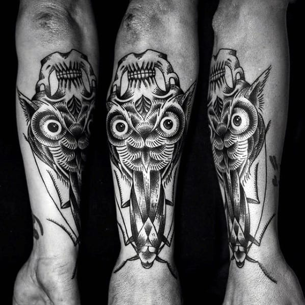 Manly Optical Illusion Owl Skull Guys Forearm Tattoo