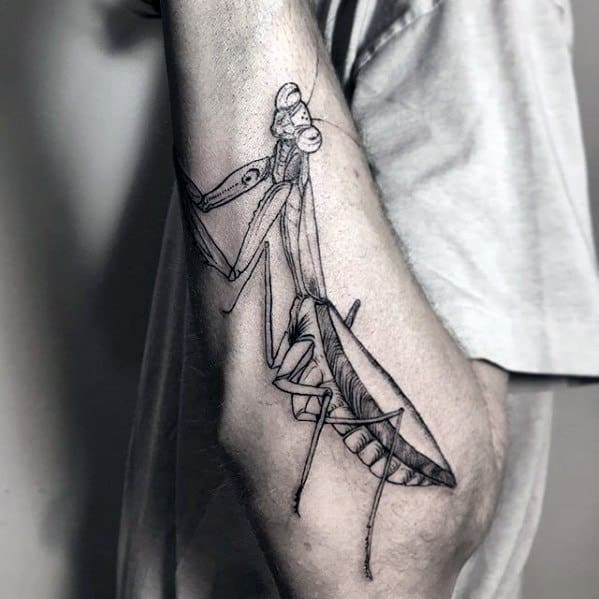 Manly Outer Forearm Praying Mantis Tattoo Design Ideas For Men
