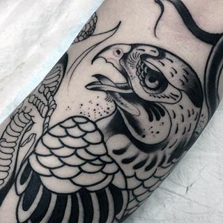 Manly Outline Hawk Tattoo On Male Forearm