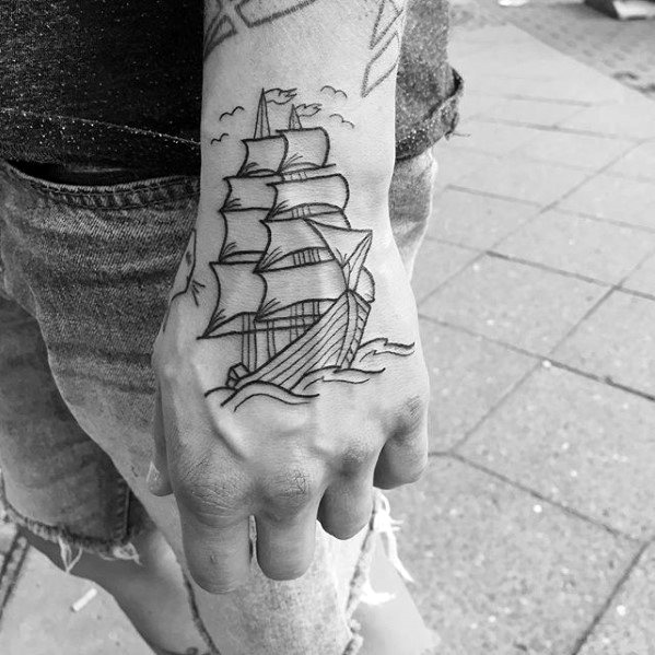 Manly Outline Sailing Ship Hand Tattoo Design Ideas For Men