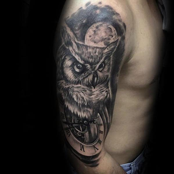 Manly Owl Moon With Pockt Watch Half Sleeve Shaded Tattoos