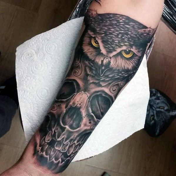 Manly Owl Skull Forearm Tattoo Design Ideas For Men