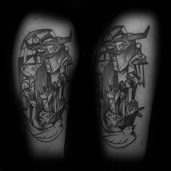 Manly Pablo Picasso Tattoo Design Ideas For Men On Leg