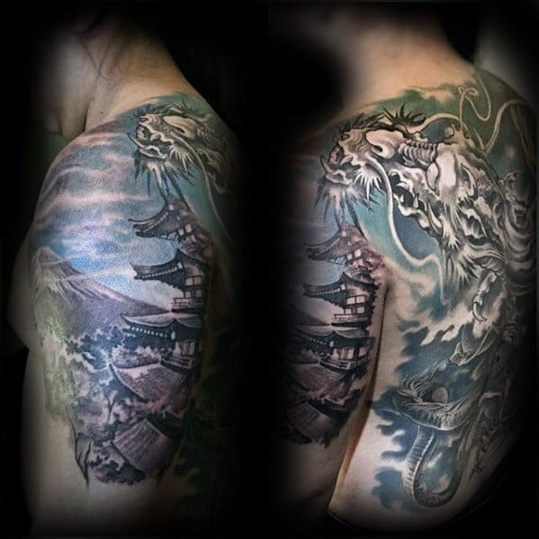 Manly Pagoda Tattoo Design Ideas For Men