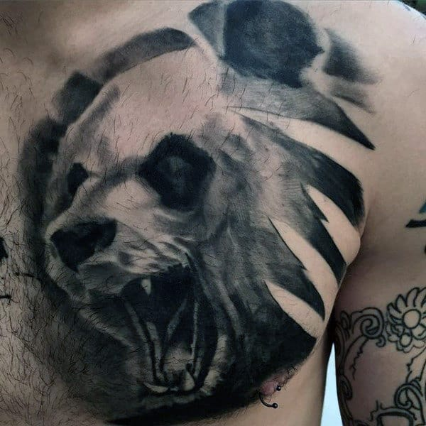 Manly Panda Upper Chest Shaded Male Tattoo