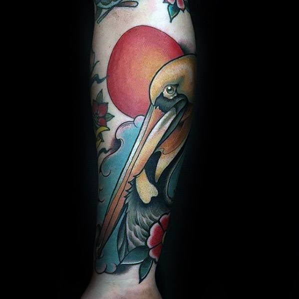 Manly Pelican Tattoo Design Ideas For Men Forearm Sleeve