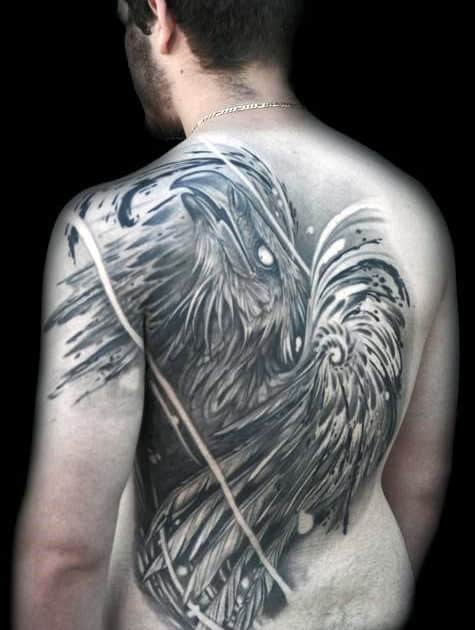 Manly Phoenix Back Tattoo Ideas For Guys